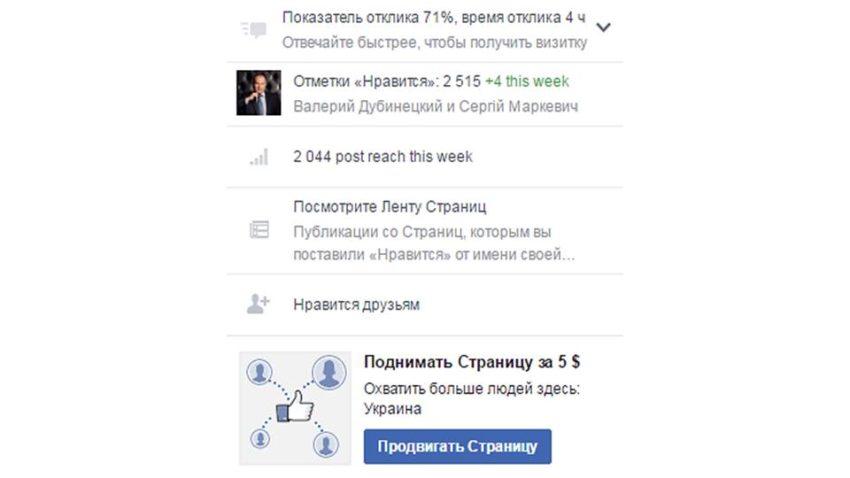 prodvigat stranitsu FB